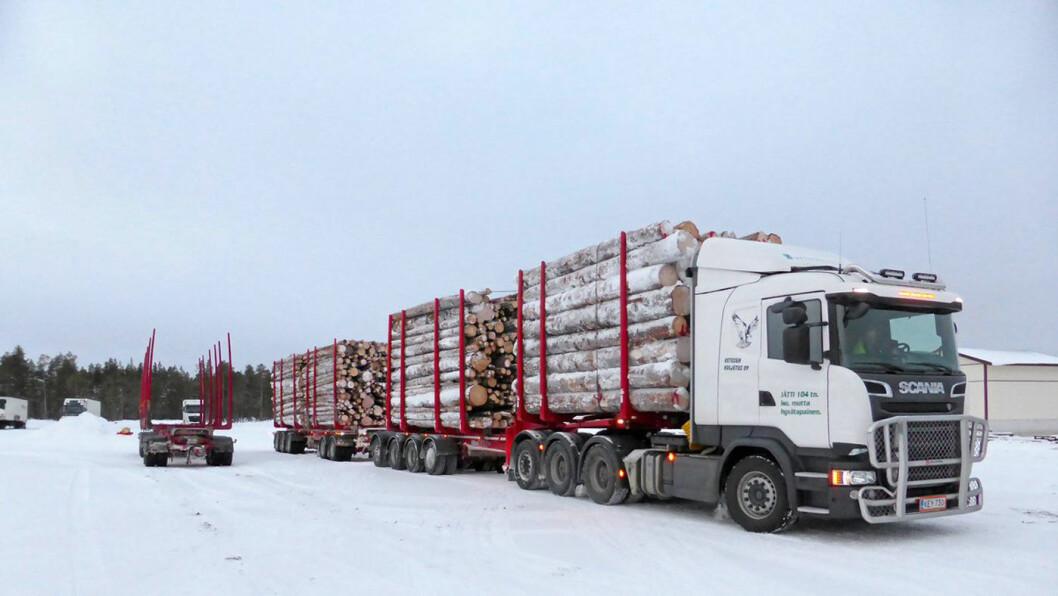 PÅ PRØVE: I dag er maksimalvekten for tømmervogntog i Norge på 60 tonn. Nå heves grensen til 74 tonn. Foto: Universitetet i Oulo