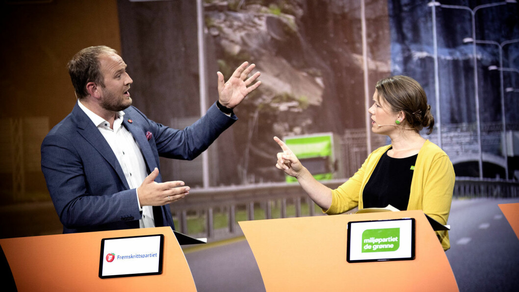 NEI! MDGs stortingsrepresentant Une Bastholm i bompengedebatt med samferdselsminister Jon Georg Dale (Frp) under Arendalsuka i sommer. Foto: Tomm W. Christiansen