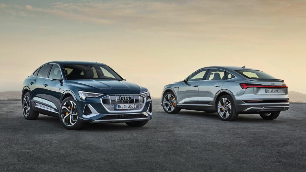 LINJELEKKER: Audi e-tron Sportback blir en mer coupéaktig variant av den e-tron vi kjenner i dag. Batteripakkene og ladeegenskapene blir likt dagens e-tron, men rekkevidden litt bedre. Foto: Audi AG