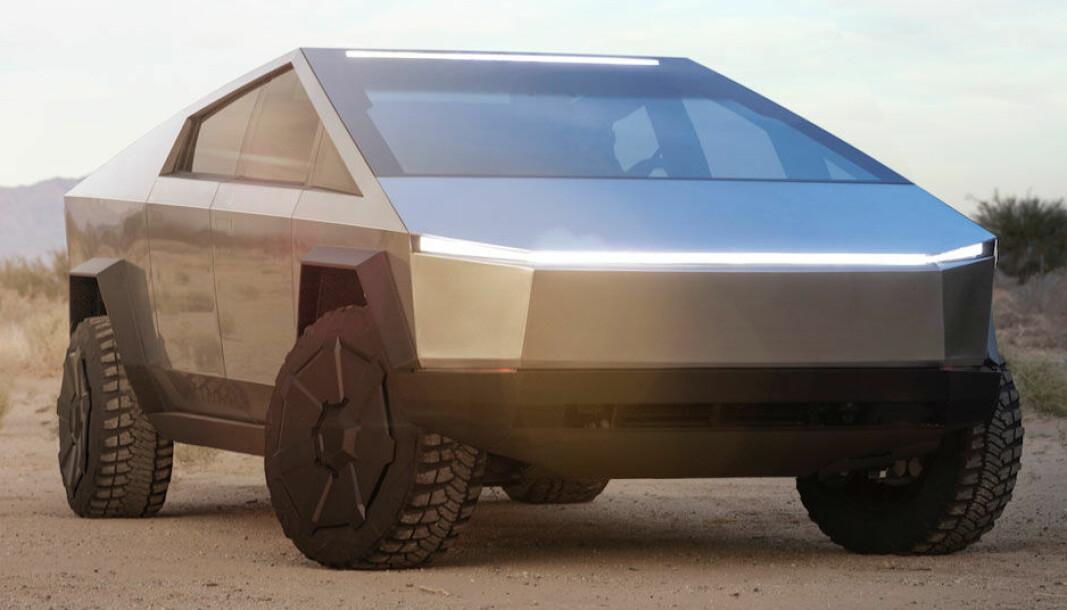 <b>SÆREGEN:</b> Teslas ambisjon var at Cybertruck skulle få et oppsiktsvekkende design. Den ambisjonen er oppfylt.