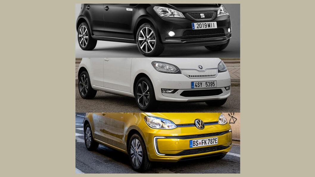 NESTEN IDENTISKE: De tre helelektriske trillingene Seat Mii (øverst), Skoda Citigo og VW e-up! Forskjellen sitter i grillen.