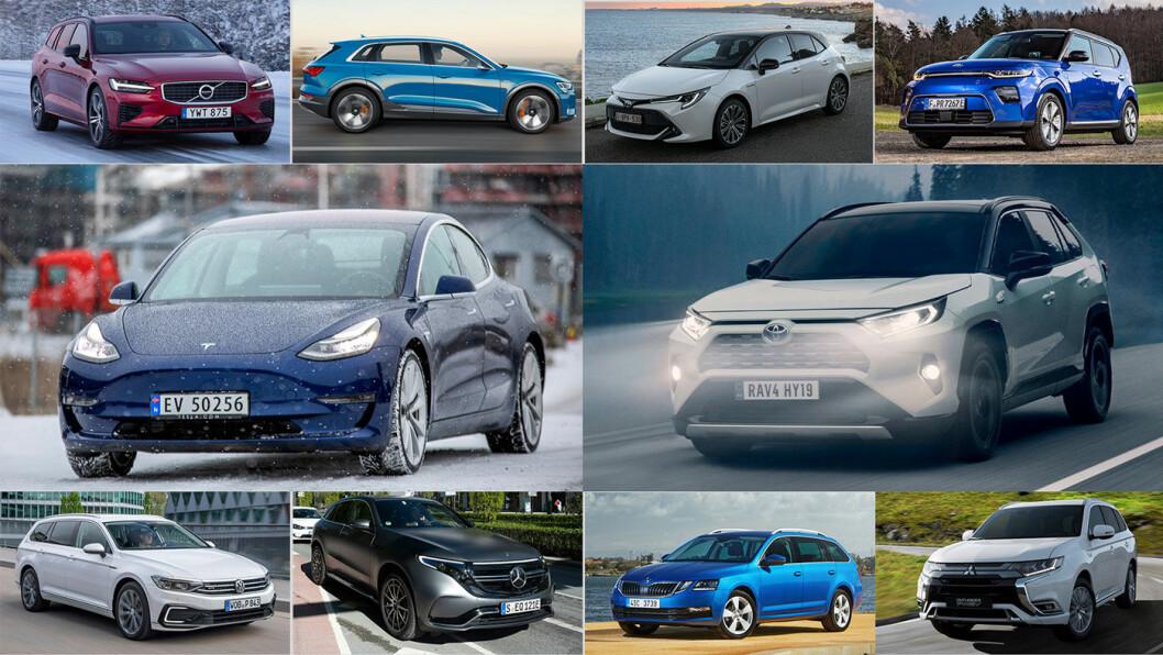 TOPP 10: Volvo V60 (øverst til venstre), Audi e-tron, Toyota Corolla, Kia e-Soul, Tesla Model 3 (midterste rekke til venstre), Toyota RAV4, VW Passat GTE (nederste rekke fra venstre), Mercedes EQC, Skoda Octavia og Mitsubishi Outlander.