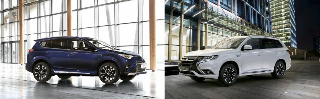 SUPER-SUV-ER: Ikke uten grunn er Toyota Rav4 Hybrid 2016 og Mitsubishi Outlander PHEV blant Norges mest solgte biler. Her møtes de til duell. Foto: Produsentene