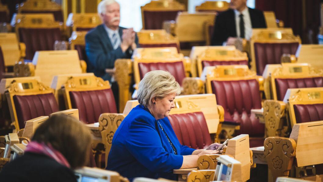 FÅR NEI: Regjeringen og statsminister Erna Solberg får ikke Stortingets støtte til å innføre avgift på biodrivstoff. Foto: Terje Bendiksby, NTB / scanpix