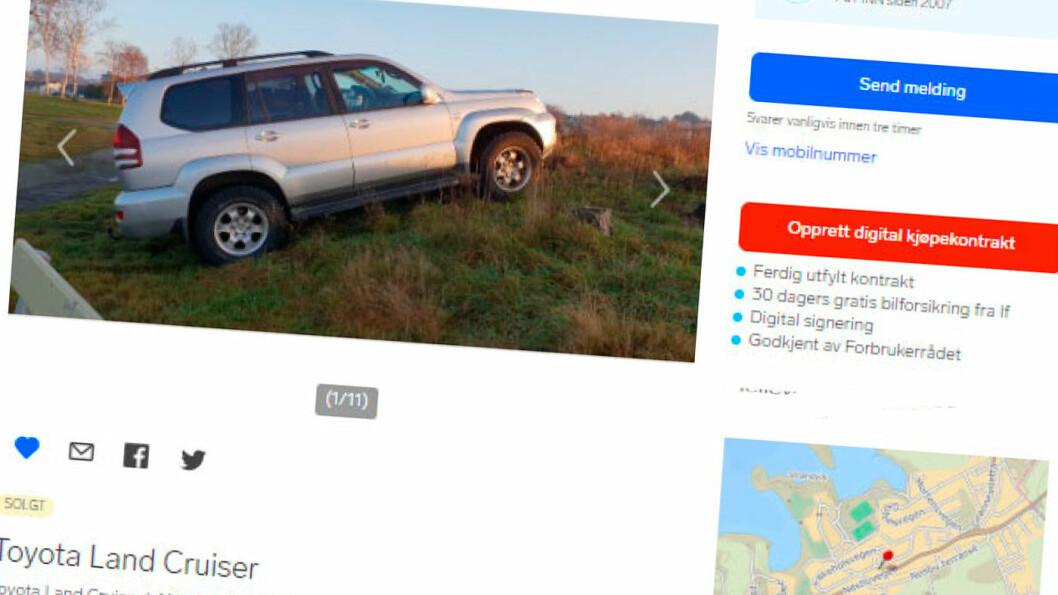 ANNONSEN: Slik så bilen ut da den ble annonsert. Ifølge kjøperen skal rusten være forsøkt skjult med tectylbehandling. Faksimile fra Finn.