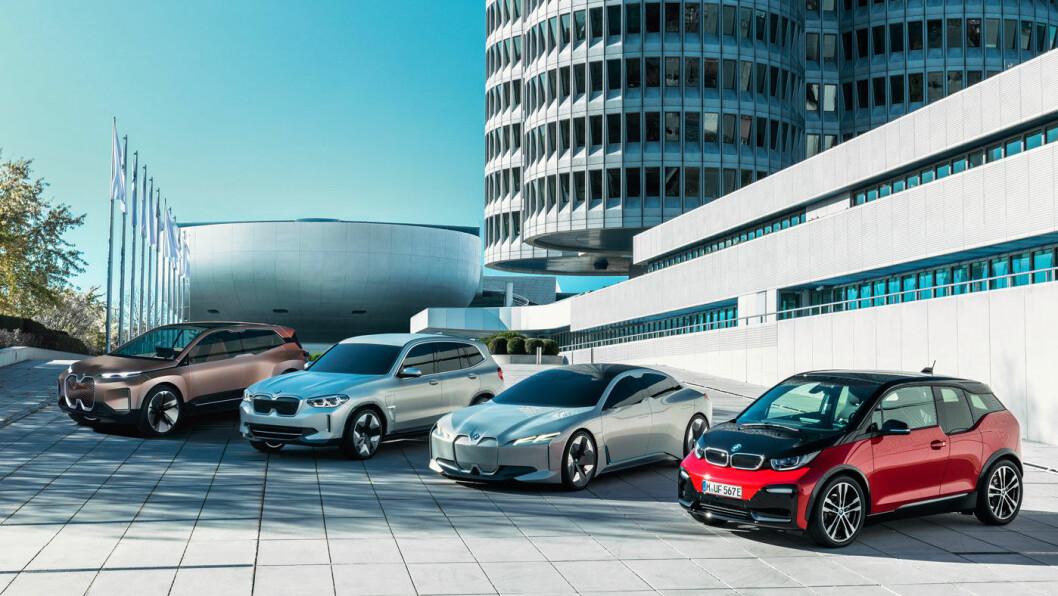 BAYERNS STOLTHET: BMW i3 (t.h.) med de tre elektriske konseptmodellene som nå er på vei mot produksjon hos BMW.