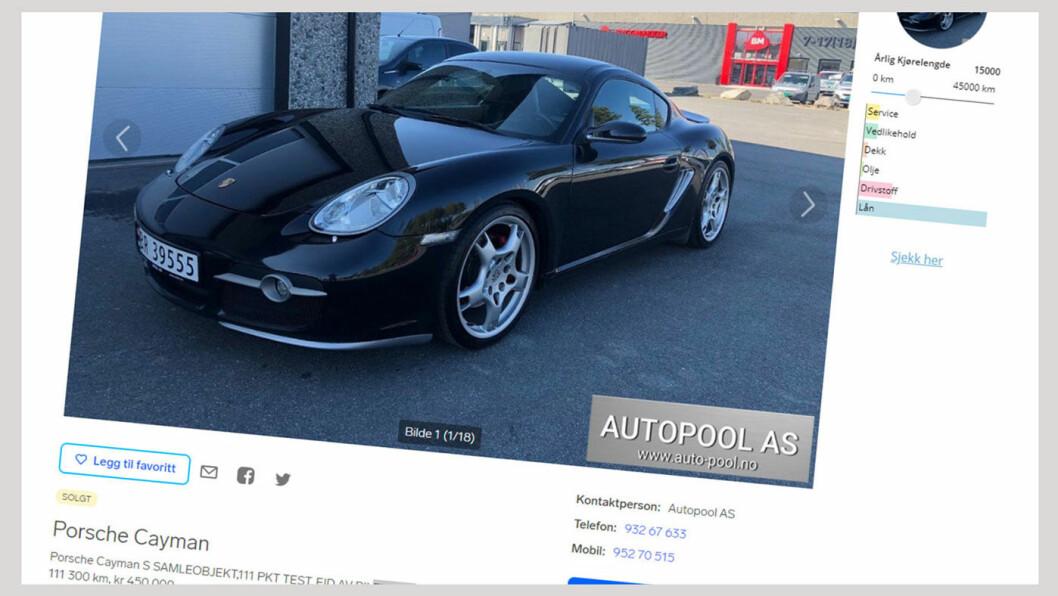 INGENTING GALT: I annonsen beskrives Porschen i rosende ordelag. Foto: Faksimile fra Finn.no