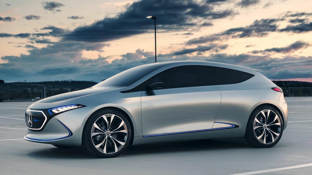 VINTERTEST: Den nye kompakte el-SUV-en til Mercedes kjøres nå på harde vintertester i svenske Norrland. EQA kommer for salg i løpet av 2020, her konseptutgaven Mercedes tidligere har vist fram. Foto: Daimler
