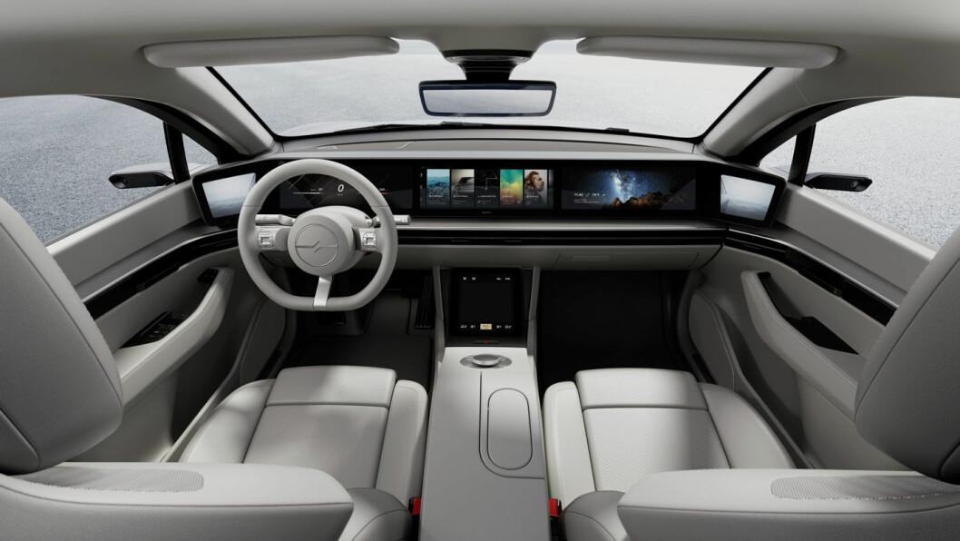 SKJERM-BONANZA: Som i Honda e og Byton M-Byte, består det meste av dashbordet av skjermer.