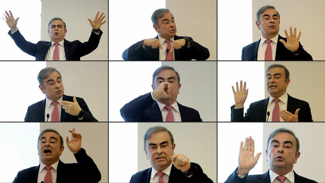 OFFENSIV: Carlos Ghosn, tidligere toppsjef i Nissan-Renault-Mitsubishi, sa seg helt uskyldig i alt han er anklaget for, og hevdet på en to timers pressekonferanse at navngitte personer i Nissans ledelse sørget for at han ble arrestert. Foto: AFP