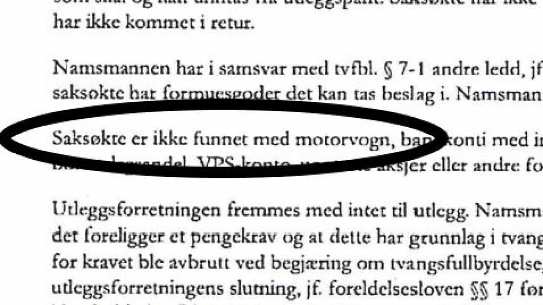 «INGEN MOTORVOGN»: Kolbotn Bil har de siste fem årene solgt biler for 139 millioner kroner. Likevel er det ikke funnet noen motorvogn, ifølge namsmannen. Foto: Skjermdump fra namsmannens brev.
