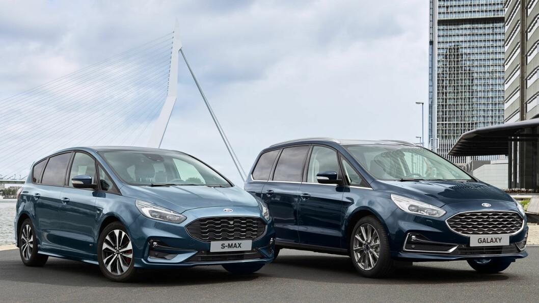 FÅR LIVSFORLENGENDE KUR: Dagens generasjon Ford S-Max og Galaxy ble lansert i 2015 og skal fortsatt få leve noen år til tross for strengere utslippskrav: Oppskriften er tilsetning av batteri og elmotor. Hybridene med redusert utslipp kommer tidlig til neste år. Foto: Ford Motor