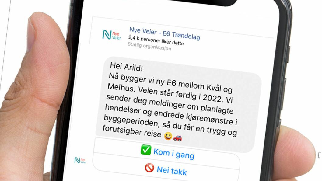 VARSLING: Den digitale nyhetstjenesten er foreløpig et pilotprosjekt knyttet til byggingen av den 7 km lange strekningen mellom Kvål og Melhus. Foto: Skjermdump fra mobiltelefon