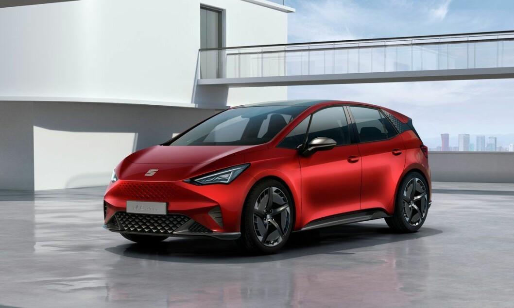 SEAT EL-BORN: Spesifikasjoner er ikke bekreftet, men estimert. Batteri 48/55/62 kWt. Rekkevidde opptil over 400 km. Pris fra under 300.000 kroner.4WD: Nei. Tilhengerfeste: Nei.