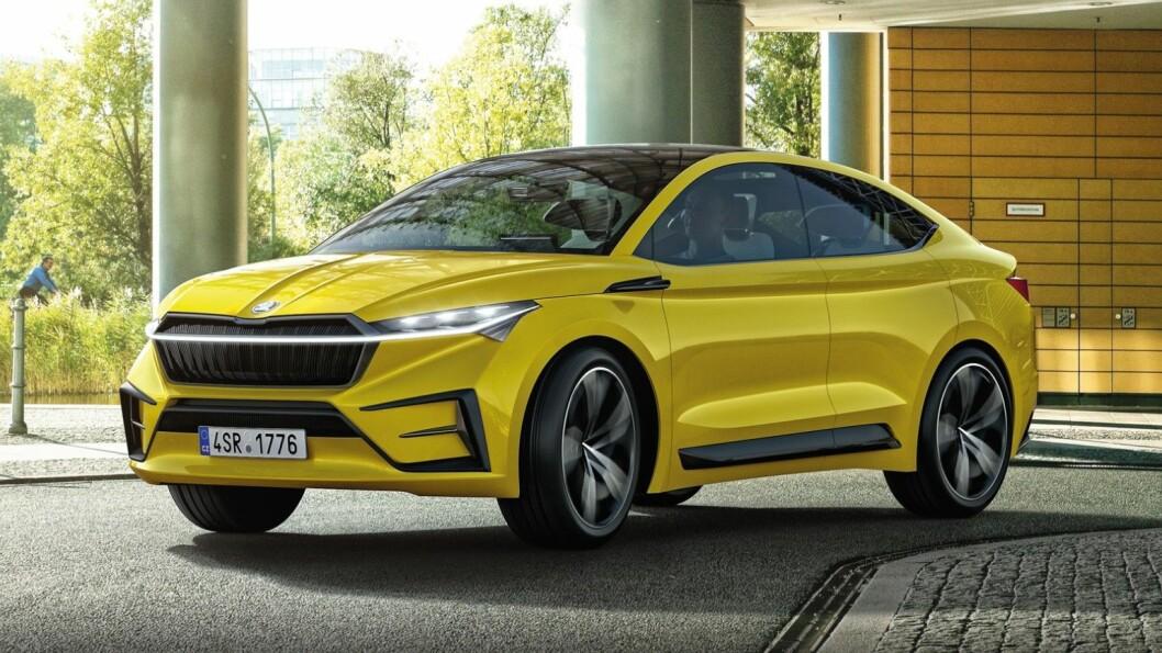 SKODA ENYAQ: Batteri opptil 83 kWt. Rekkevidde 500 km. Pris ikke kjent.4WD: Ja. Tilhengerfeste: Ja, 1600 kg (konseptbilen).