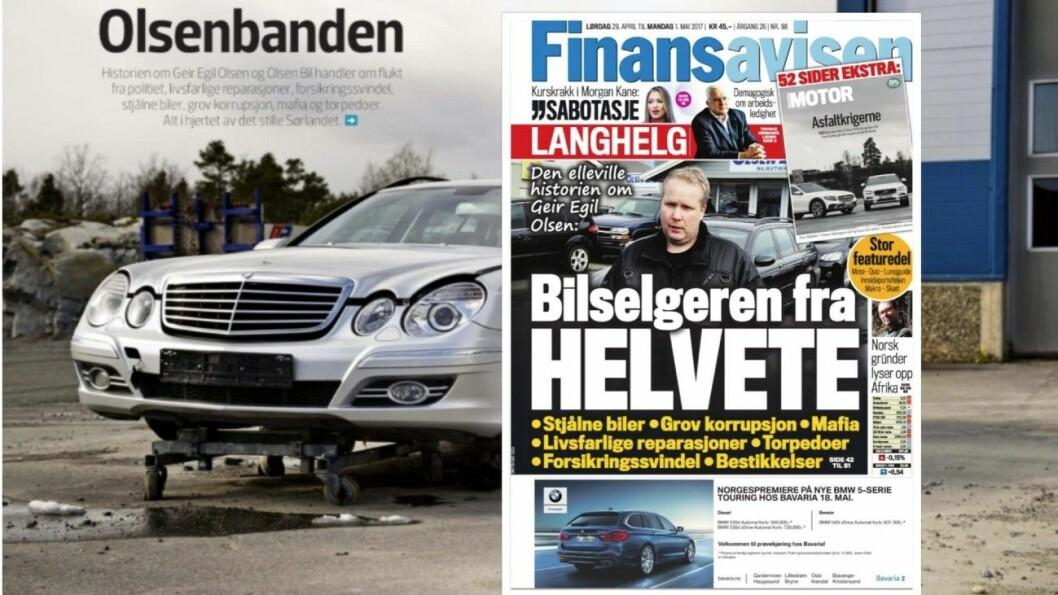 FRA HELVETE: Slik ble bruktbilselger Geir Egil Olsen omtalt i Finansavisen for tre år siden. Foto: Faksimile av Finansavisen