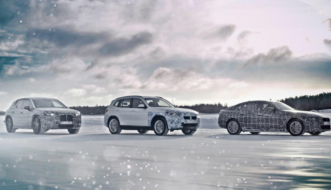 MULTIPLATTFORM: BMWs kommende elbiler – iNEXT, BMW i4 og BMW iX3 - her under vintertesting i fjor vinter - er ikke basert på en plattform spesialutviklet for elbiler.