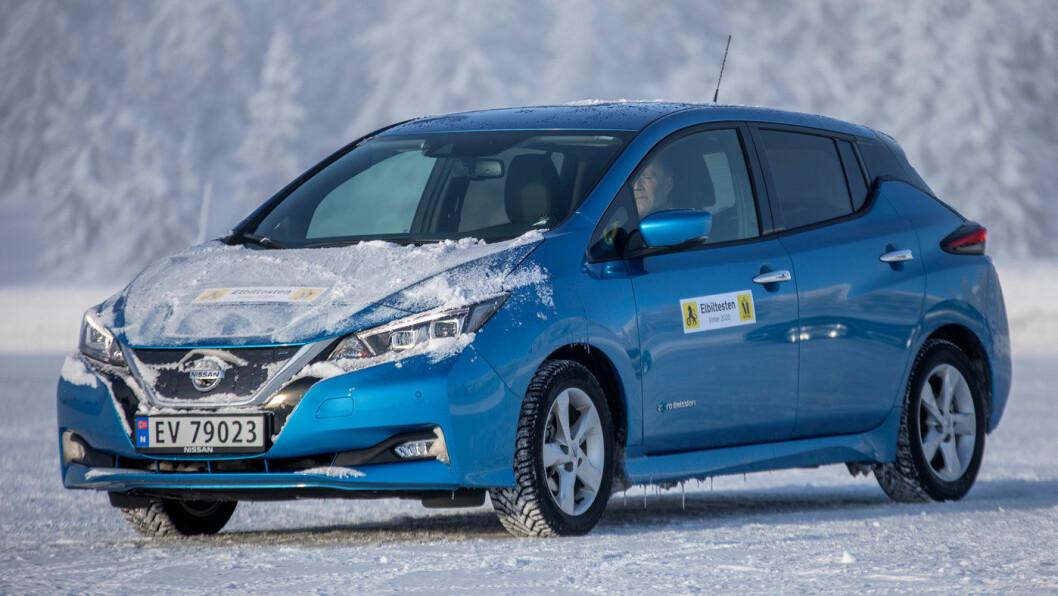 VETERAN: Nissan Leaf 40 kWt er bilen med nest kortest rekkevidde i testen. Foto: Tomm W. Christiansen