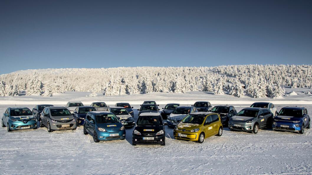20 I TEST: Vi samlet 20 av Norges solgte elbiler til stor test av rekkevidde og ladeegenskaper. Foto: Tomm W. Christiansen