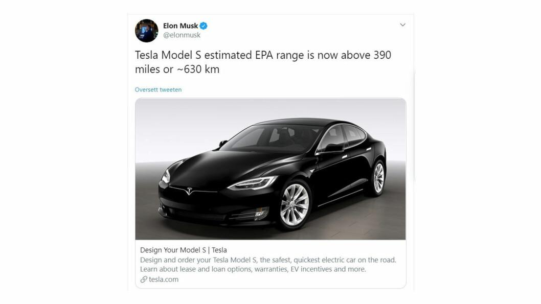 HILSEN FRA OVEN: Tesla-sjef Elon Musk tvitret om rekkevidde-økningen i går.