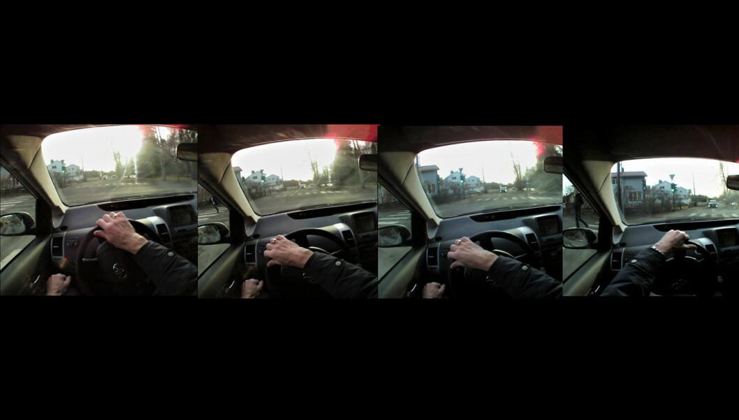 FIRE SEKUNDER – TO PERSONER: I løpet av sjåførens manøver til venstre, dukker det opp to fotgjengere i blindsonen. Det hele skjer i løpet av drøye fire sekunder. Foto: TØI