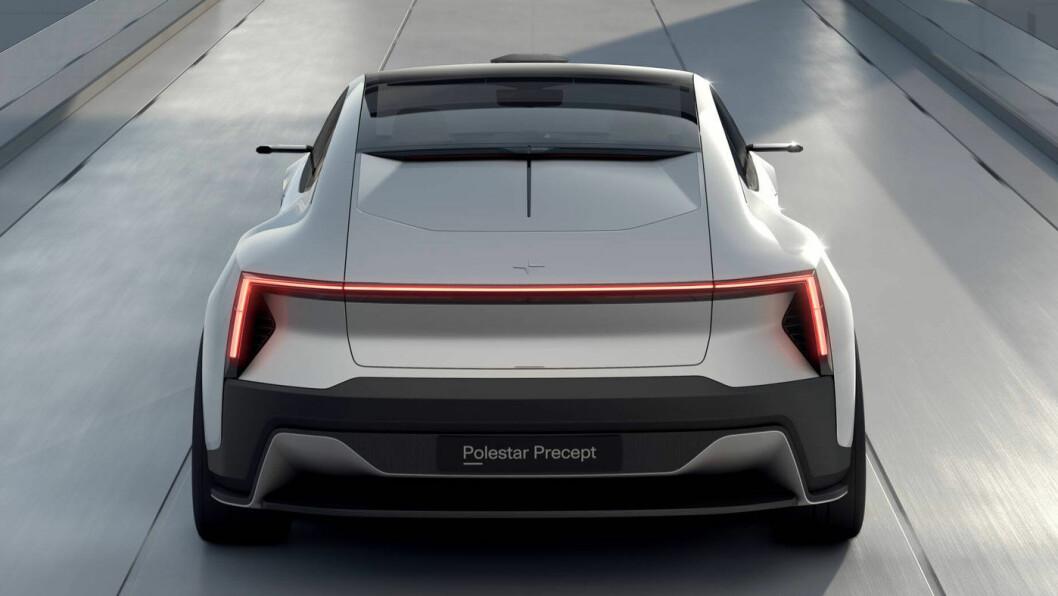 AERODYNAMISK: Polestar Precept er designet for lav luftmotstand. Fronten minner oss en anelse om Citroëns siste storbil, C6.