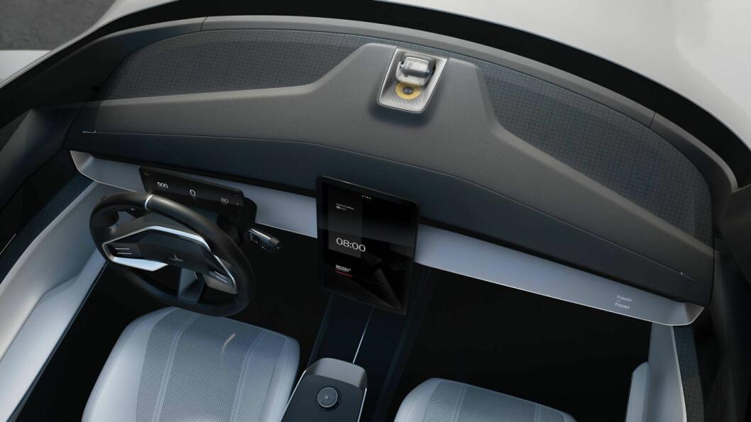 NESTE GENERASJON: Menneske-maskin-grensesnittet (HMI), basert på Android, bygger på Polestars nære samarbeid med Google. En stor, stående sentral berøringsskjerm – som i Ford Mustang Mach-e – på 15 tommer utfyller et 12,5-tommers førerdisplay.