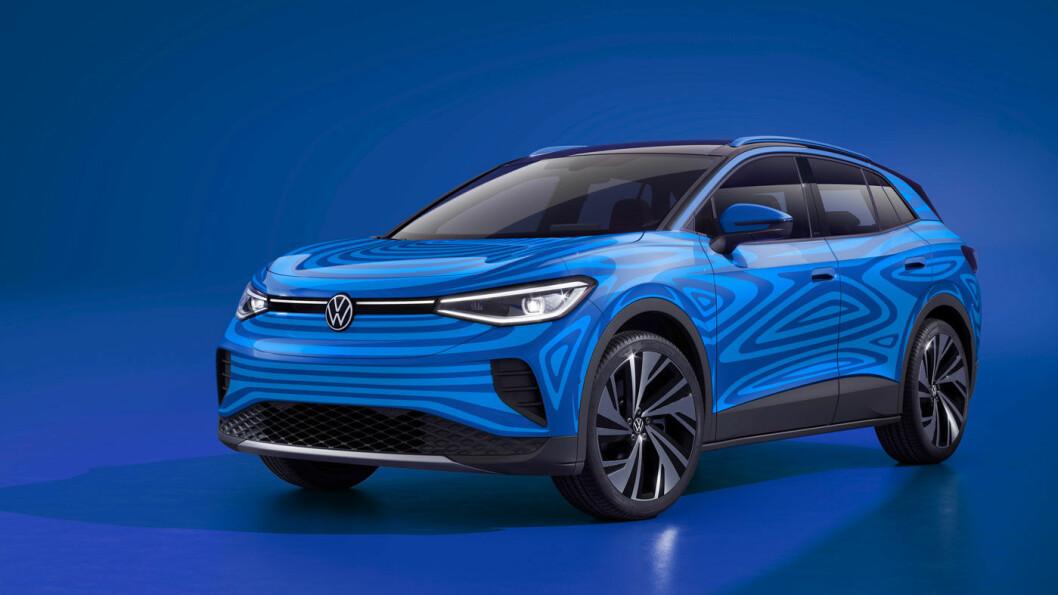 FAMILIEBIL: Nye og litt tydeligere bilder viser VW ID.4 med sin tydelige SUV-form. Modellen kommer også med firehjulsdrift, stort bagasjerom og hengerfeste. Foto: Volkswagen AG