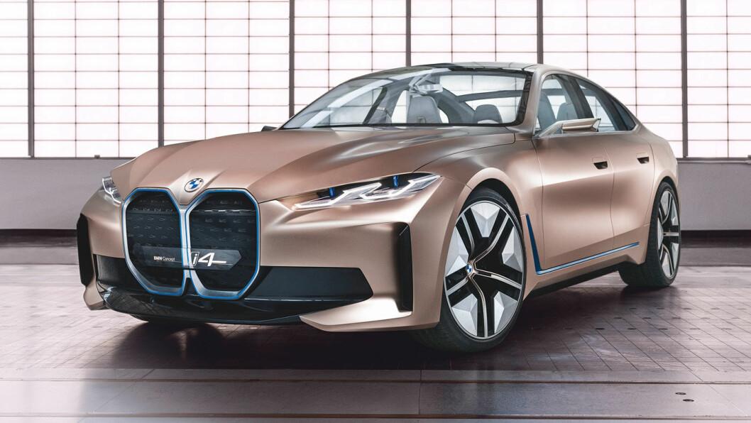 KVARTETT: BMW viser nå fram sin første elektriske sedan – i4. I 2021 vil BMW ha serieproduksjon av fire vidt forskjellige elbiler: BMW i3, BMW iX3, BMW i4 og BMW iNext. Foto: BMW