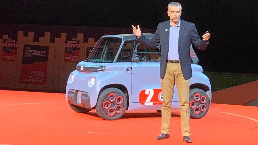VIKTIG NYSATSING: Det var Citroën-sjefen selv, Vincent Cobée, som introduserte Citroën Ami, sammen med sine nestkommanderende, med ansvar for design, produktutvikling, kommunikasjon og partnerskap.