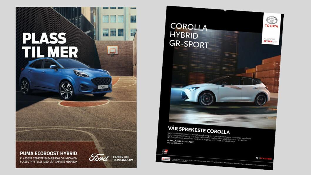 OVER STREKEN? Reklamen som disse for Toyota og Ford er eksempel på markedsføring Oslo MDG vil forby.