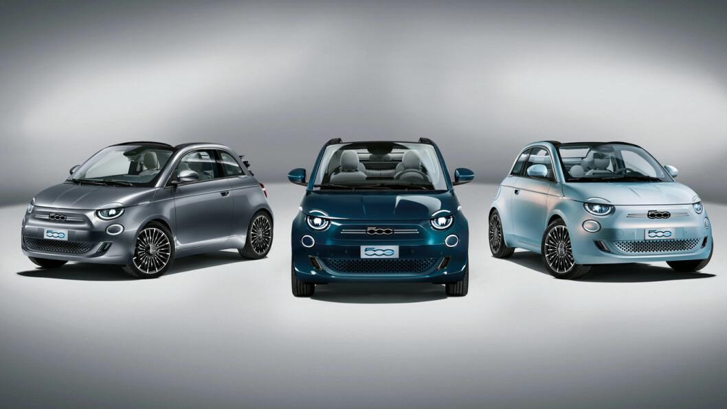 ELEKTRISK IKON: Nye Fiat 500 kommer i helelektrisk utgave med rekkevidde på over 30 mil. I første omgang bare i 500 velutstyrte eksemplarer – i disse tre fargene. Foto: Fiat