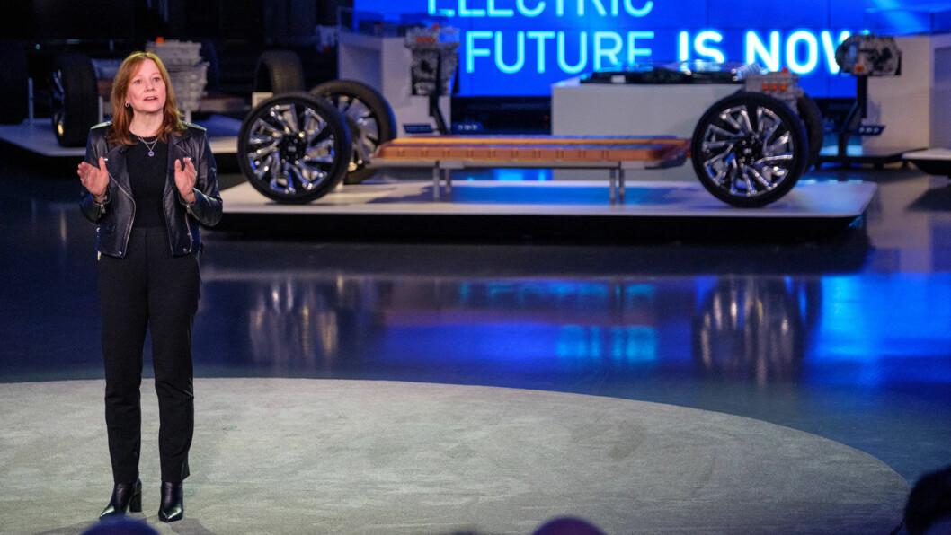 «GJENOPPFINNER» GM: Mary Barra, toppsjefen i USAs største bilprodusent General Motors, la i forrige uke frem en ekstremt ambisiøs elektrifiseringsplan for selskapet i GMs teknologisenter i Warren, en forstad til Detroit. Foto: Steve Fecht, GM