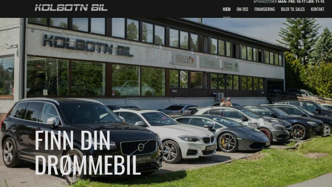 DYRE BILER: Kolbotn Bil selger mange og dyre biler, men ble tvunget i kne av en bruktbilkjøper fra Hedemarken. Faksimile av nettsidene til Kolbotn Bil.