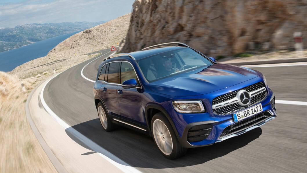 TØFF: Mercedes GLB – en kompakt SUV med mulighet for firehjulsdrift og sju seter – kommer på norske veier allerede i mars.
