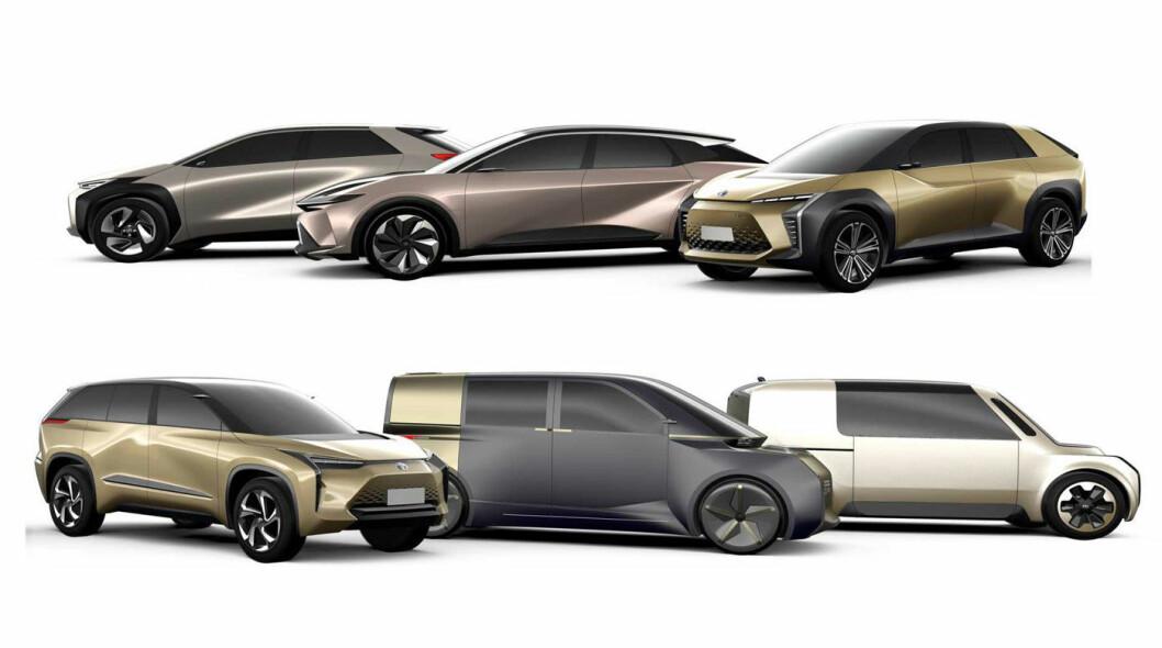 AMBISIØST ELBILPROGRAM: Toyota har mer langsiktige planer for å bli store på elbil i fremtiden. De viste denne paletten mulige fremtidsprodukter i forbindelse med bilutstillingen i Shanghai i april 2019.
