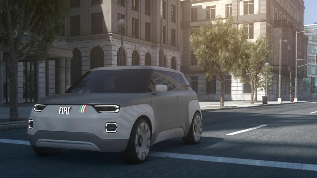 TYDELIGE PANDA-TREKK: Konseptbilen er en videreføring av dagens Panda i formgivningen. Det italienske flagget på siden av grillen er et hint til den første Panda fra 80-tallet.