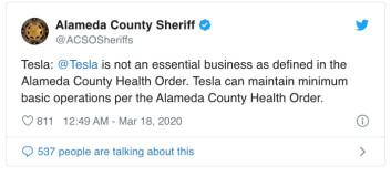 Sheriffens melding stanset Tesla