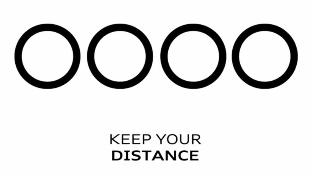 KREATIVT BUDSKAP: Ringene i Audis logo fjerner seg fra hverandre og trekker seg sammen for å symbolisere at man skal holde avstand, men likevel holde sammen. Foto: Audi AG