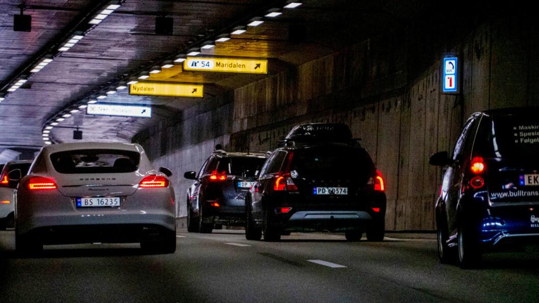 RING 3: Trafikk gjennom Tåsentunnelen på Oslos Ring 3. Foto: Geir Olsen