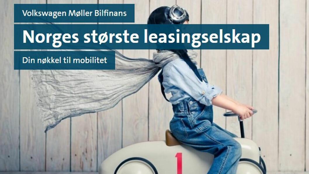 STØRST: Volkswagen Møller Bilfinans skryter av å være Norges største leasingselskap med mer enn 75.000 kunder. Foto: Faksimile