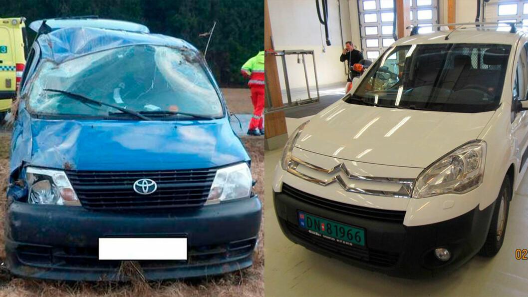 TO VRAK: Ulykkesbilen til Sigfrid Eiksund etter kollisjonen (til venstre). Den nye hun kjøpte så fin ut, men var ikke stort bedre (til høyre).