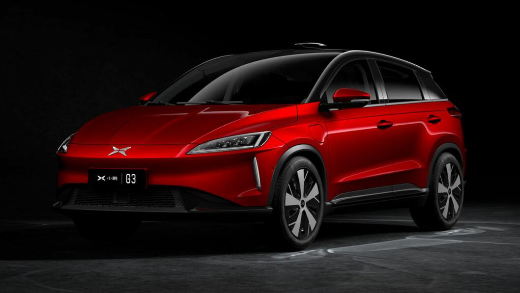 HELT FERSK: Slik ser den ut, Xpeng – et helt nytt bilmerke som nå kommer til Norge i løpet av året. Den kinesiske kompakt-SUV-en har svært avansert teknologi og en rekkevidde på rundt 45 mil. Foto: Xpeng