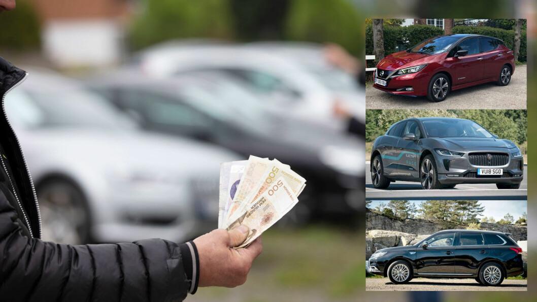 KJØPERS MARKED? Biler vil trolig stige i pris, men du kan gjøre gunstige nybilkjøp på modeller som ble tatt inn landet tidligere i år. Blant dem er Nissan Leaf (øverst), Jaguar I-PACE og Mitsubishi Outlander, sistnevnte er riktignok prisjustert med tre prosent. Foto: Geir Olsen