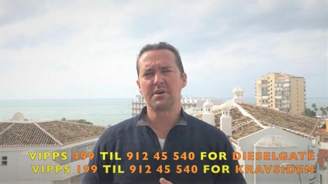 YOUTUBE: På Youtube-videoer postet i Spania, med havet i bakgrunnen, forklarer Dag Rune Flaaten hvorfor norske forbrukere skal vippse han penger. Foto: Faksimile fra Youtube