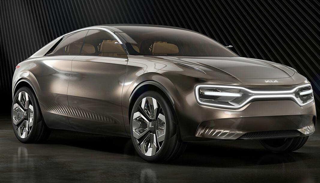 <strong>NY DESIGN:</strong> Konseptbilen «imagine by Kia» ble lansert i fjor, og i kjent stil sier ryktene at også det ferdige resultatet vil likne på denne. Det gjenstår å se. Uansett er dette et designspråk som markerer en ny tid for Kia.