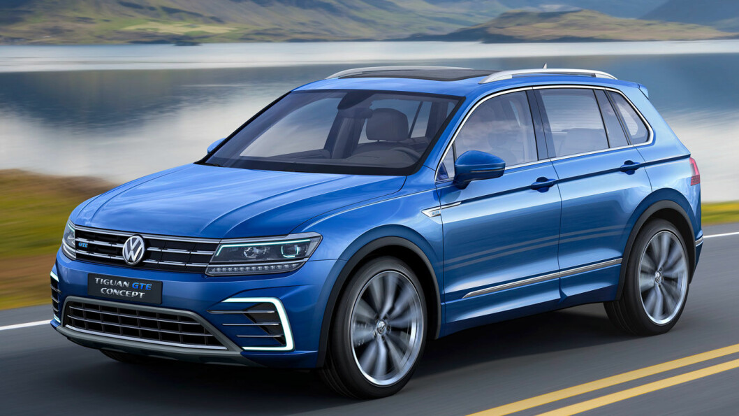 BLIR LADBAR: Volkswagens mest solgte modell globalt var Tiguan (nei, ikke Golf!) i 2019. Senere i år blir den utstyrt med batteripakke og stikkontakt, som seg hør og bør i 2020. Bildet viser Tiguan GTE som konseptbil fra 2016. Foto: Volkswagen AG