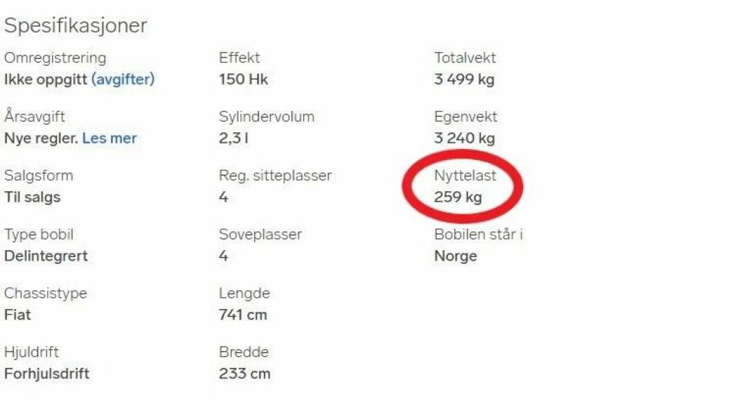 259 KG: Her kan ikke passasjerene og alt utstyret man vil ha med veie mer enn 259 kg – til sammen. Faksimile av annonse for bobil.