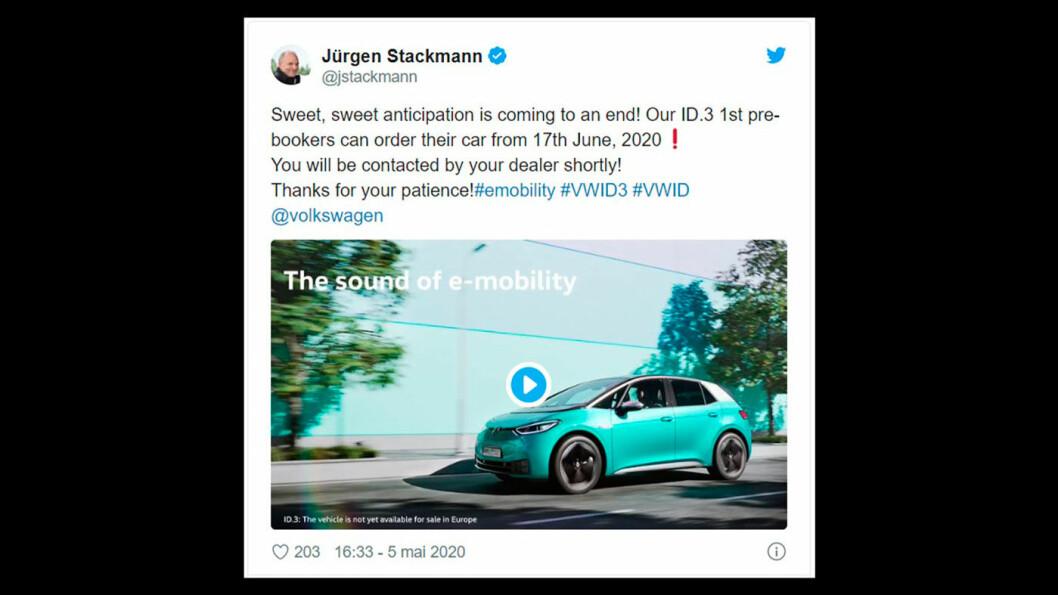 NÆRMER SEG: Fra 17. juni kan VW ID.3, i spesialutgaven 1st, bestilles. Det opplyser markedssjef Jürgen Stackmann i en tweet.