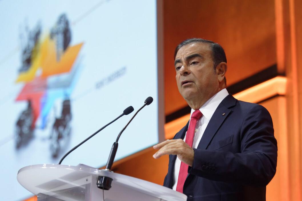 DEN GANG DA: Eks-Nissan-sjef Carlos Ghosn, nå tiltalt for økonomisk utroskap overfor Nissan i Japan, fotografert i 2017 da han la fram sin femårsplan. Nå sier han: – I 2017 hadde vi en sterk allianse med en klar visjon, solid økonomi, stabil vekst og høyt innovasjonstempo. Siden jeg ble arrestert har Nissan mistet ti milliarder dollar av sin verdi.